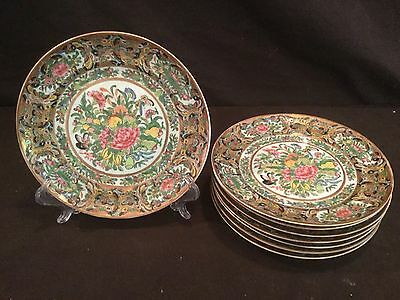 Set 8 Antique 19Th Century Chinese  Rose Mandarin Plates Gold Butterfly Floral
