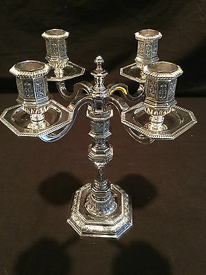 "Christofle Silver Plate 4 Light8"" Candelabra/ Converts To One Candlestick"