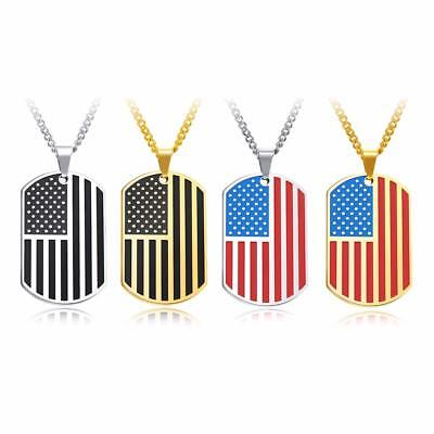 Men USA Flag Pendant Necklace Chain Link American Style  Stainless Steel Dog Tag