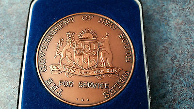 NSW Government Service Medallion - 40 Years Service. Named, in original box.