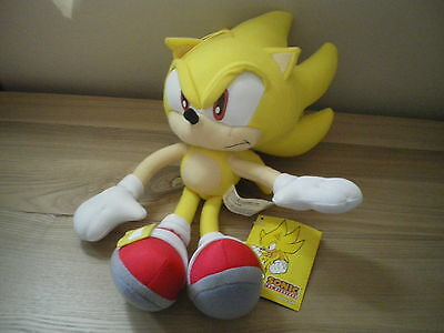 """Sega Official licensed Sonic The Hedgehog 12"""" Plush toy figure Super Sonic NWT"""