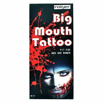 Big Mouth Temporary Tattoo Halloween Dress Up Costume Party Zombies  M-12