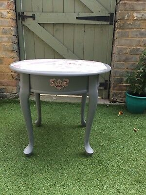 Shabby Chic Round Coffee Table Occasional Table Grey With Wallpaper Feature Picclick Uk