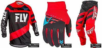 Fly Racing F-16 NEW 2018 Racing Gear Jersey Pants Glove Red and Black Adult