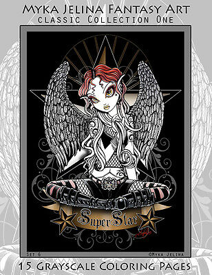 Myka Jelina Art Coloring Pages Gothic Fairy Classic Collection Grayscale Set6