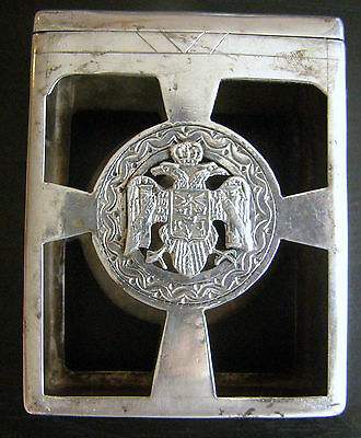 1920's Sterling Cigarette Pack Holder With Serbian Coat Of Arms
