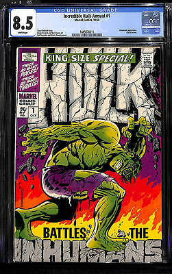 INCREDIBLE HULK KING SIZE ANNUAL #1 CGC 8.5 WHITE pages VF+ STERANKO COVER 1968