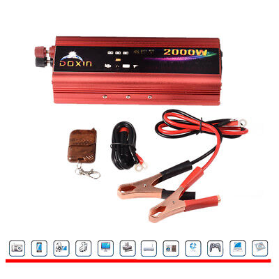 2000W Converter Modified Power Inverter Car DC12V to AC 220V With Remote Control