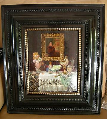 """Artist Signed """"Ludwig Augustin"""" 1924 Austrian Oil On Board Painting"""