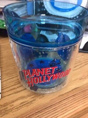Planet Hollywood Plastic Glass with Floating Glitter and Blue Stars