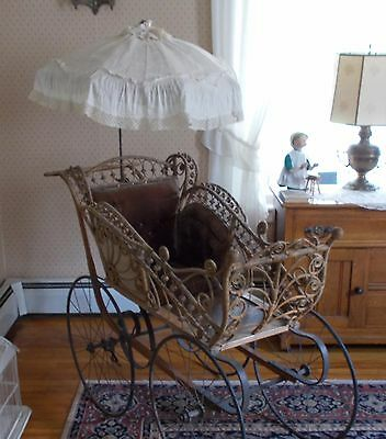 ANTIQUE WICKER Full Size Childs Baby Stroller Buggy EXC DOLL /TEDDY BEAR DISPLAY