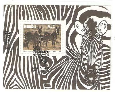 1991  NAMIBIA - ZEBRA AND FOAL  - SG 574  Sheetlet - USED