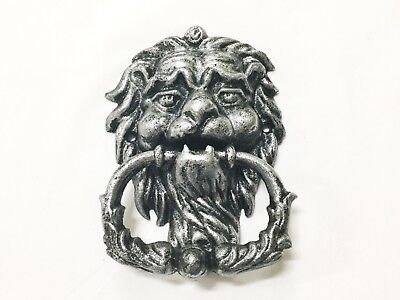 New Cast Iron Silver Over Black Lion Head Door Knocker (1184-0022)