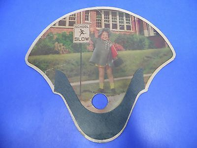 Vintage Hand Held Fan Cardboard Advertisement Child School Crossing Florist TN