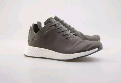 ea638676d468d NEW Adidas leather NMD R2 Grey Ash SIZE 9.5 BB3117 Boost r1 pk ultra FREE  SHIP