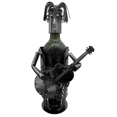 New Handmade Metal Craft Single Wine Bottle Holder Guitar Man 17 x 12 x 21.5 cm