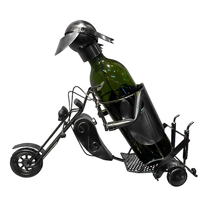New Handmade Metal Wine Bottle Holder Man on Motorcycle 37 x 15 x 20.3 cm