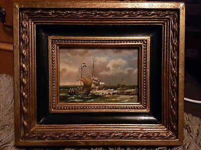Antique oil painting ships