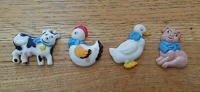 Vintage Giftco Inc. ~ Chicken, Cow, Duck & Pig Googly Eye Magnets ~ Lot of 4