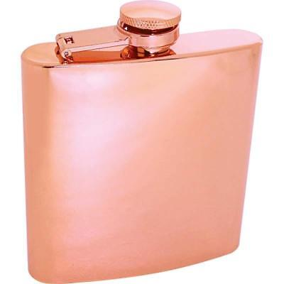 6oz Copper Color Flask - Screw Cap S. S. Hip Pocket Carry Liquor Whiskey Alcohol