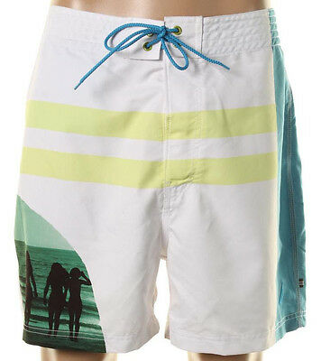 NEW Mens Nautica Quick Dry Bright White Beach Surf Swim Board Short Size 34W