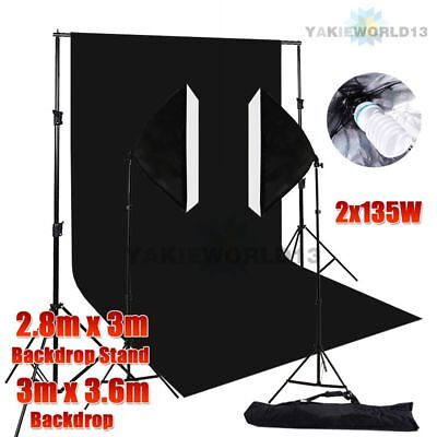 1350W Photo Studio Softbox Continuous Lighting Black Muslin Backdrop Stand Kit