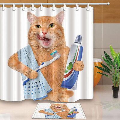Funny Cat Theme Waterproof Fabric Home Decor Shower Curtain Liner Bathroom Mat