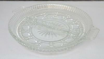 Vintage Clear Glass Round Divided Nut, Candy or Relish Dish w/ Two Handles