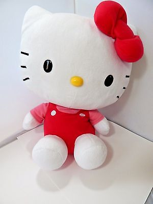 """Large Hello Kitty Sanrio Plush 14"""" Tall Head 13"""" Wide Pink and Red Outfit"""
