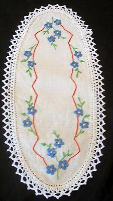 Vintage Linen Sandwich Doily Hand Embroidered Blue Flowers