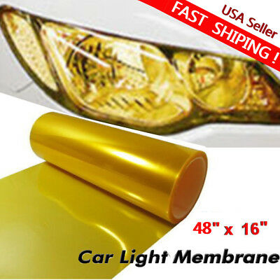"USA 16""x48"" Car Headlight Tint Film Taillight Vinyl Wrap Fog Light Golden Yellow"