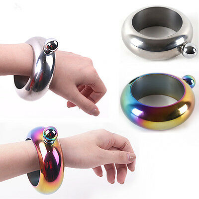 Bangle Bracelet Hip Flask Silver/Rainbow 304 Stainless Steel Portable Container