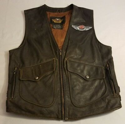 Harley Davidson Billings Distressed Brown Leather Vest Men's MEDIUM Biker Worn