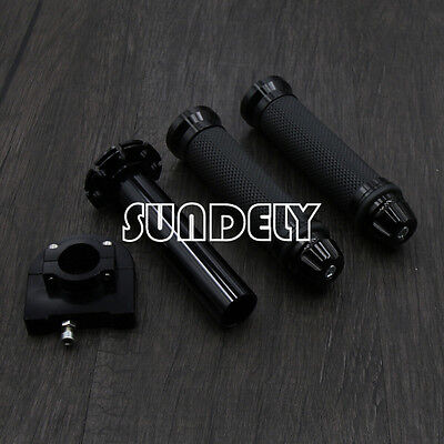 "AU Motorcycle Dirt Bike Scooter 7/8"" CNC Hand Grips Throttle Twist Tube Black"