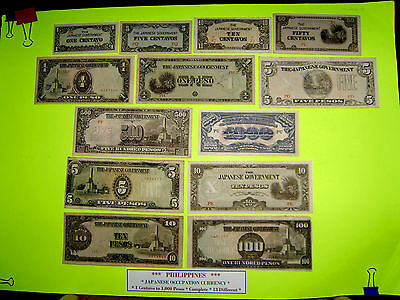 PHILIPPINES Money Bank Notes Japanese Japan Occupation 13 DIFFERENT 1c to 1000 P