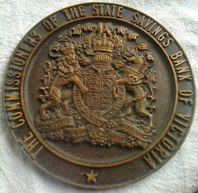 Bronze Plaque  -  The Commissioners Of The State Savings Bank Of Victoria 1930