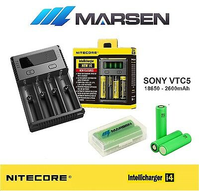 Nitecore i4 Charger with Sony US 18650 VTC5 30A  Lithium batteries