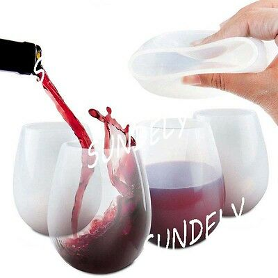 2/4/8 PCS Silicone Wine Glasses Beer Whiskey Cup Durable Unbreakable Camping BBQ