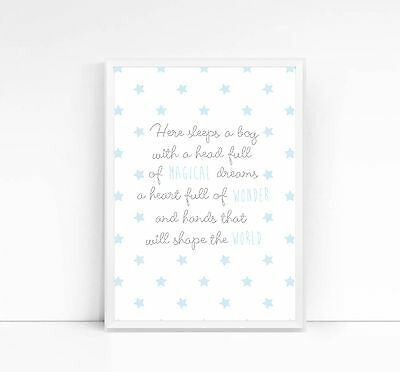 Here Sleeps A Boy A4 Print-Nursery- Bedroom-Children's Print-Boy's Print-Quote