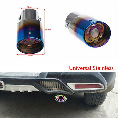 DIY Stainless Steel Silver+colorful Car Rear Round Muffler Exhaust Tail Pipe Tip