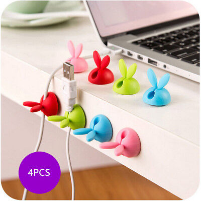 4PCS Cable Drop Clip Desk Tidy Organiser Wire Cord USB Charger Holder New