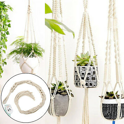 1PC Mkono Macrame Plant Indoor Outdoor Hanging Planter Basket Jute Rope CQ1776
