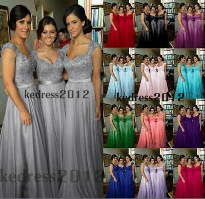 New Lace Chiffon Long Bridesmaid Formal Prom Party Ball Evening Dress Size 6-24