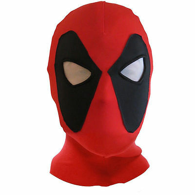 Deadpool Face Mask Balaclava Halloween Costume Hood Cosplay Cotton Red & Black