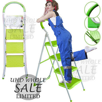 4 Step Heavy Duty Foldable Safety Ladder Kitchen Stool Non Slip Tread Kitchen