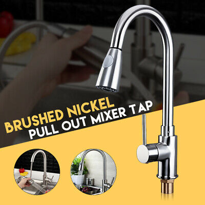 Chrome Brushed Steel Pull Out Swivel Kitchen Faucet Basin Sink Spray Mixer Tap