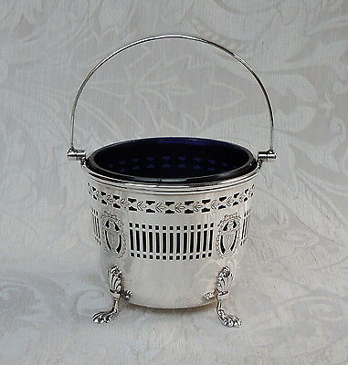 Edwardian Silver Plate Basket w Blue Glass Liner c1910 by Barker Ellis