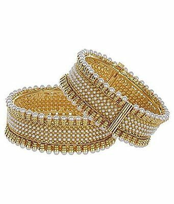 Ethnic Indian Bollywood Jewelry Gold Plated Pearls Bracelets Bangles 2.6""