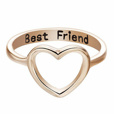 NEW Love Heart Best Friends BFF Silver Gold Ring Band Wrap Rings Jewelry Fashion