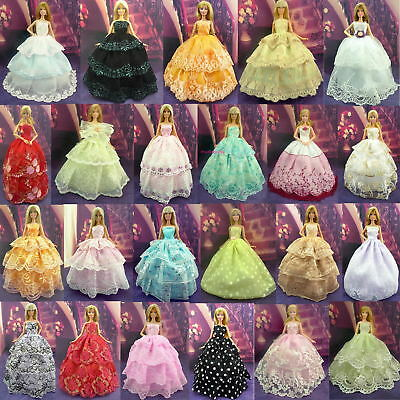 Handmade Wedding Dress Party Gown Clothes Costume Outfits For Barbie Doll